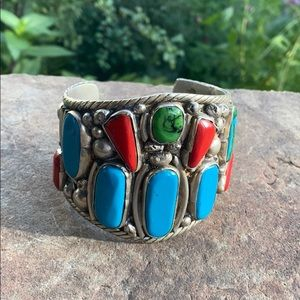 Huge silver turquoise cuff bracelet